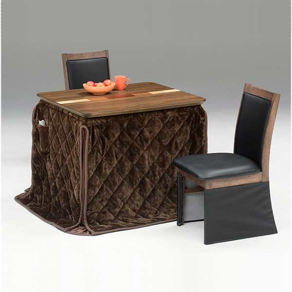 こたつセット ダイニングこたつ 4点 二人掛け 幅90cm シンプル こたつ本体 椅子 こたつ布団 セット 2人用 炬燵 木製 北欧 送料無料