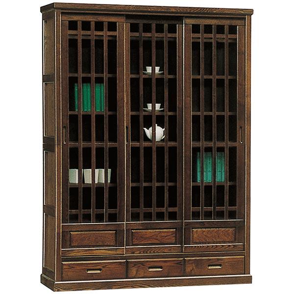 本棚 書棚 フリーボード 幅132cm 飾り棚 和風 リビング収納 木製 【 開梱設置無料 】 ハイタイプ ガラス 完成品 国産