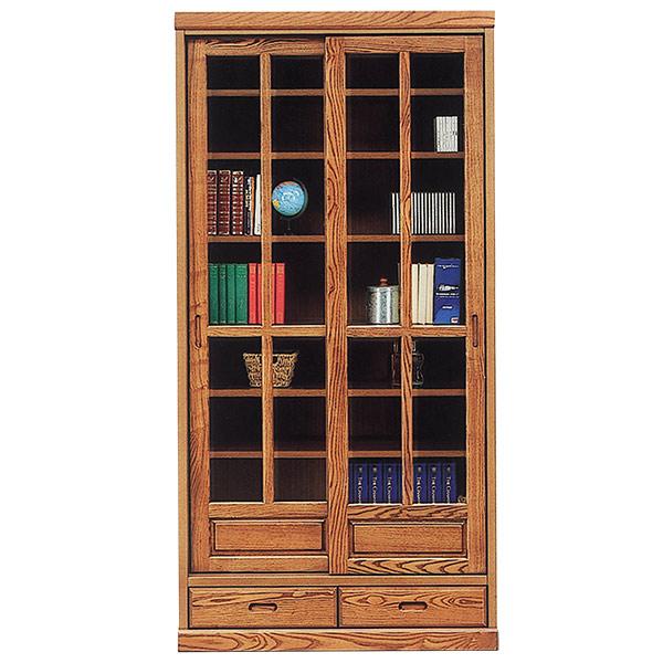 本棚 書棚 幅90cm フリーボード ハイタイプ 飾り棚 リビング収納 扉付き 【 開梱設置無料 】引き戸 木製 タモ材