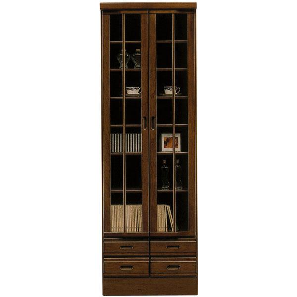 書棚 本棚 ハイタイプ フリーボード 幅60cm リビングボード 扉付き 日本製 飾り棚 完成品 リビング収納 和風 和 モダン 木製