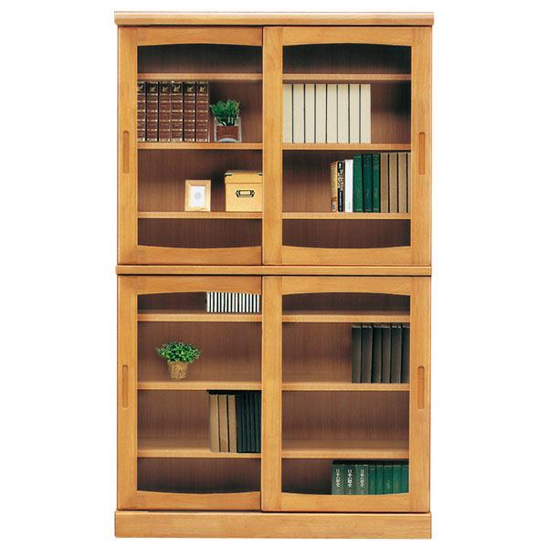 本棚 書棚 本収納 収納家具 木製 幅105cm 完成品 国産 おしゃれ スライド扉 【 開梱設置無料 】