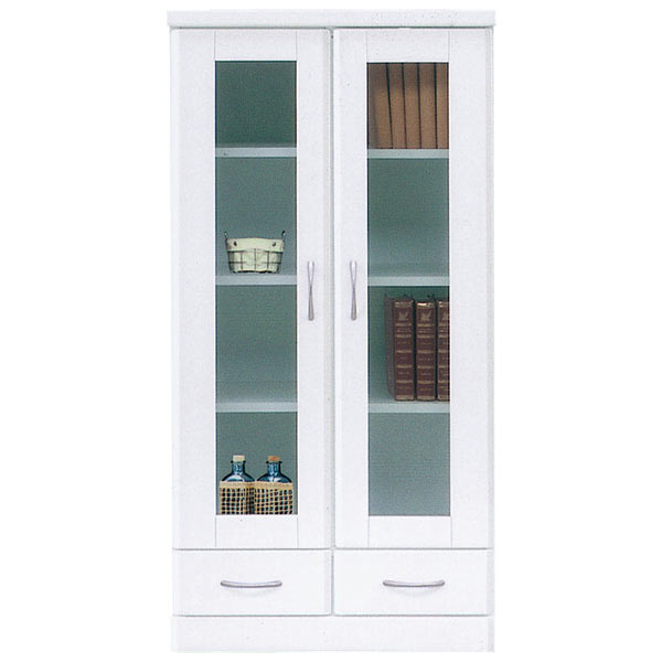 書棚 本収納 本棚 ミドルボード 収納家具 木製 幅60cm 完成品 国産 白 ホワイト 鏡面 おしゃれ