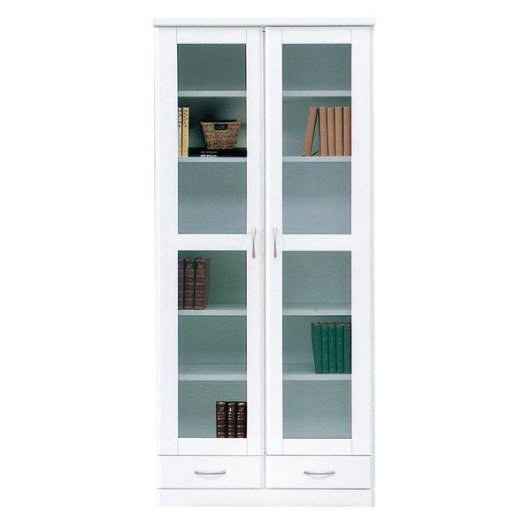 書棚 本収納 本棚 収納家具 木製 幅80cm 完成品 国産 白 ホワイト 鏡面 おしゃれ