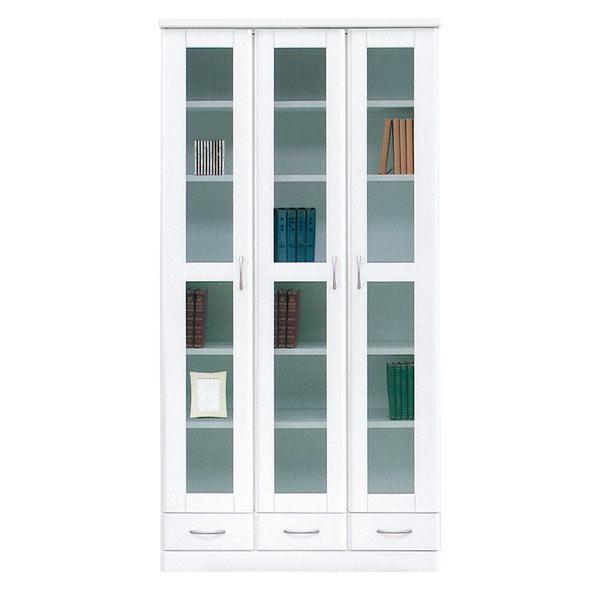書棚 本収納 本棚 収納家具 木製 幅90cm 完成品 国産 白 ホワイト 鏡面 おしゃれ 【 開梱設置無料 】