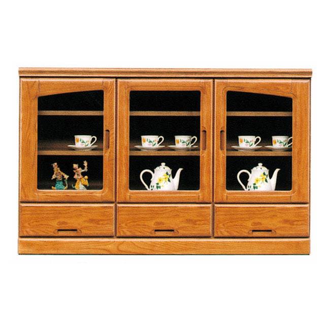 サイドボード リビングボード リビング収納 飾り棚 木製 幅131cm ガラス 完成品 国産