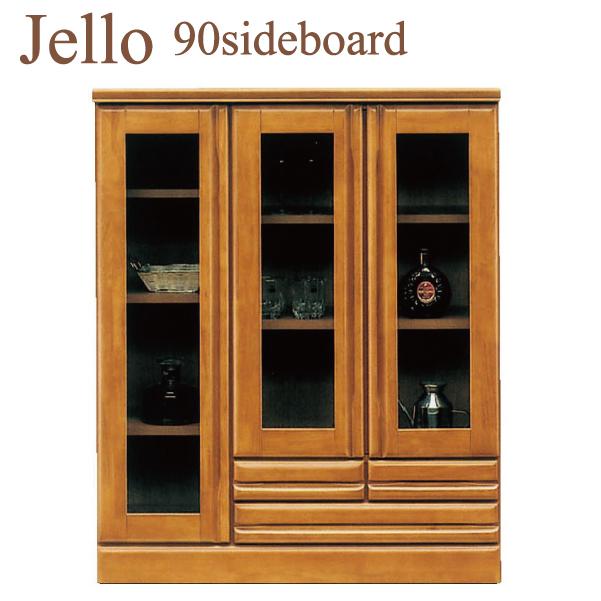 【ポイント3倍 8/9 9:59まで】 サイドボード リビング収納 飾り棚 木製 幅90cm ガラス 完成品 国産 送料無料