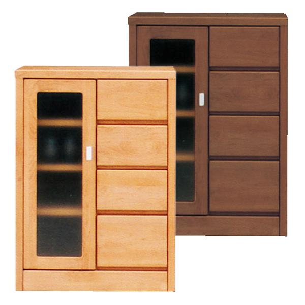 サイドボード リビング収納 飾り棚 自然塗装 木製 幅60cm ガラス 完成品 国産