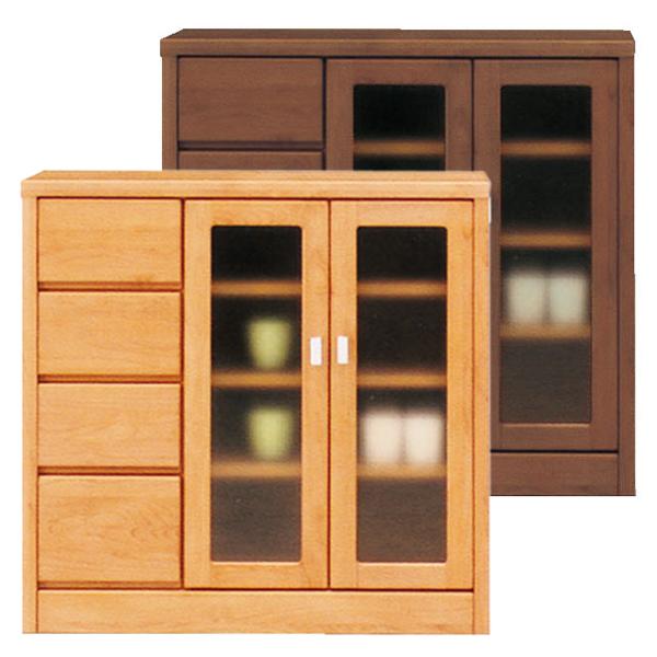 サイドボード リビング収納 飾り棚 自然塗装 木製 幅90cm ガラス 完成品 国産