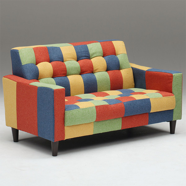 Love Sofa 2 People 125 Cm Wide For Stylish Cute P Fabric Legs With Colorful Two Seat