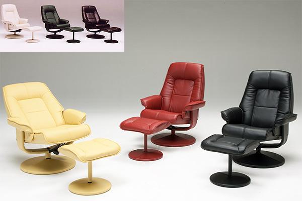 リクライニングチェア リクライニングソファ パーソナルチェア オットマン付き チェア 椅子 一人掛け 1人用 PU ソフトレザー PVC 合皮 回転式 幅75cm
