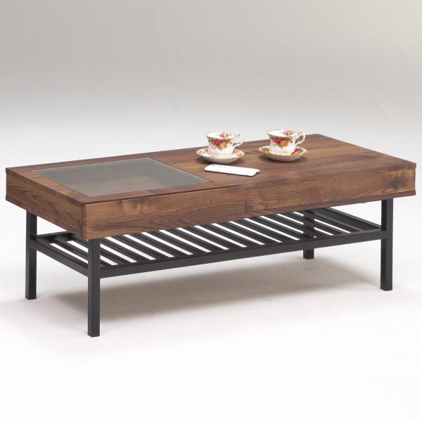 センターテーブル リビングテーブル テーブル 座卓 幅110cm フルオープンスライドレール ブラウン 長方形 引き出し 送料無料