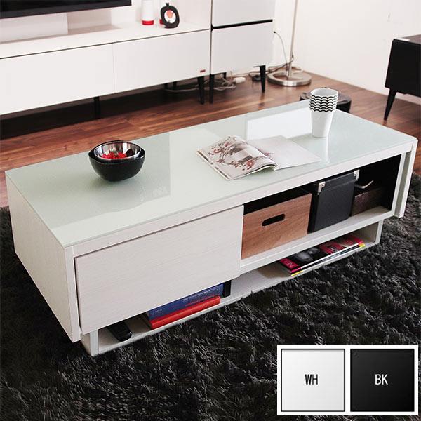リビングテーブル テーブル センターテーブル 幅110cm おしゃれ モダン 日本製 ホワイト ブラック 収納付き ローテーブル