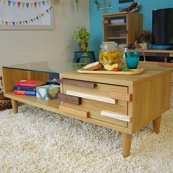 センターテーブル テーブル キッズ 子供部屋 ローテーブル かわいい 木製 日本製 国産 リビング 収納付き 北欧 モダン 幅110cm ガラステーブル