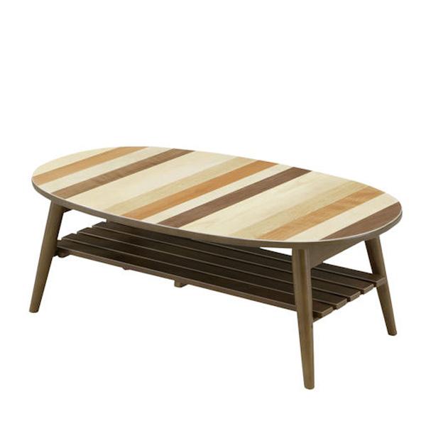 センターテーブル テーブル 幅90cm ローテーブル 折りたたみテーブル 机 棚付き 楕円 長円形 おしゃれ モダン