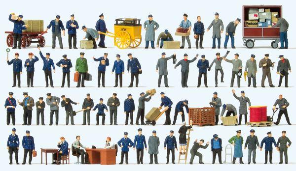 Preiserプライザー13004 鉄道職員など 60人【HO人形】【塗装済み】【ジオラマ人形】