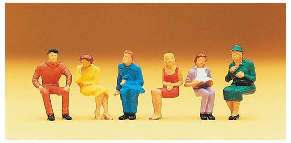 People sitting Preiser Preiser 14,095 HO scale figurines set of 6