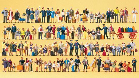 preiserプライザー13000 鉄道関係者、通行人、旅行者、乗客 100人【HO人形】【塗装済み】【ジオラマ小物】