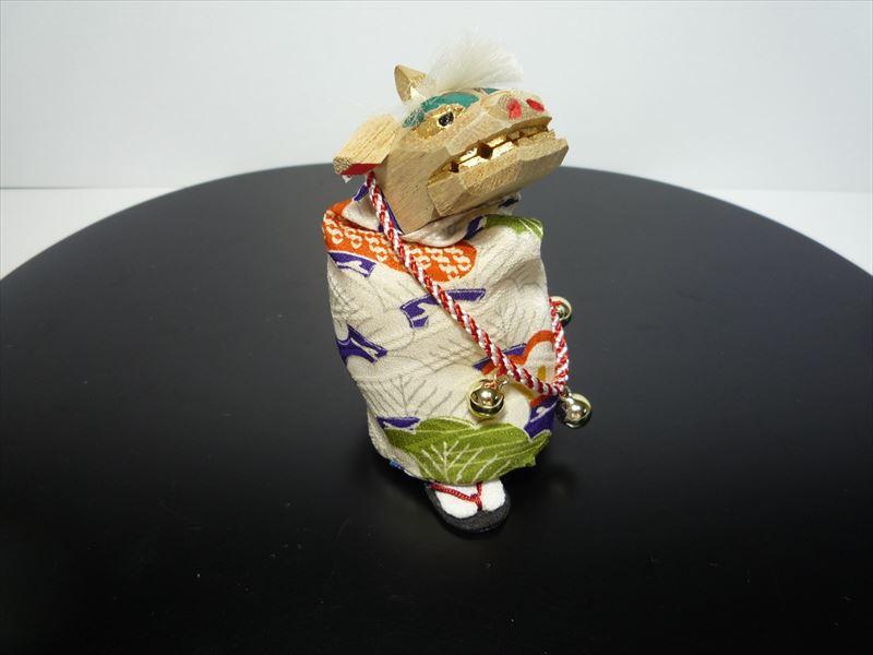 【送料無料】【1点物】縮緬細工正絹裂地 人形 獅子舞 todo2012