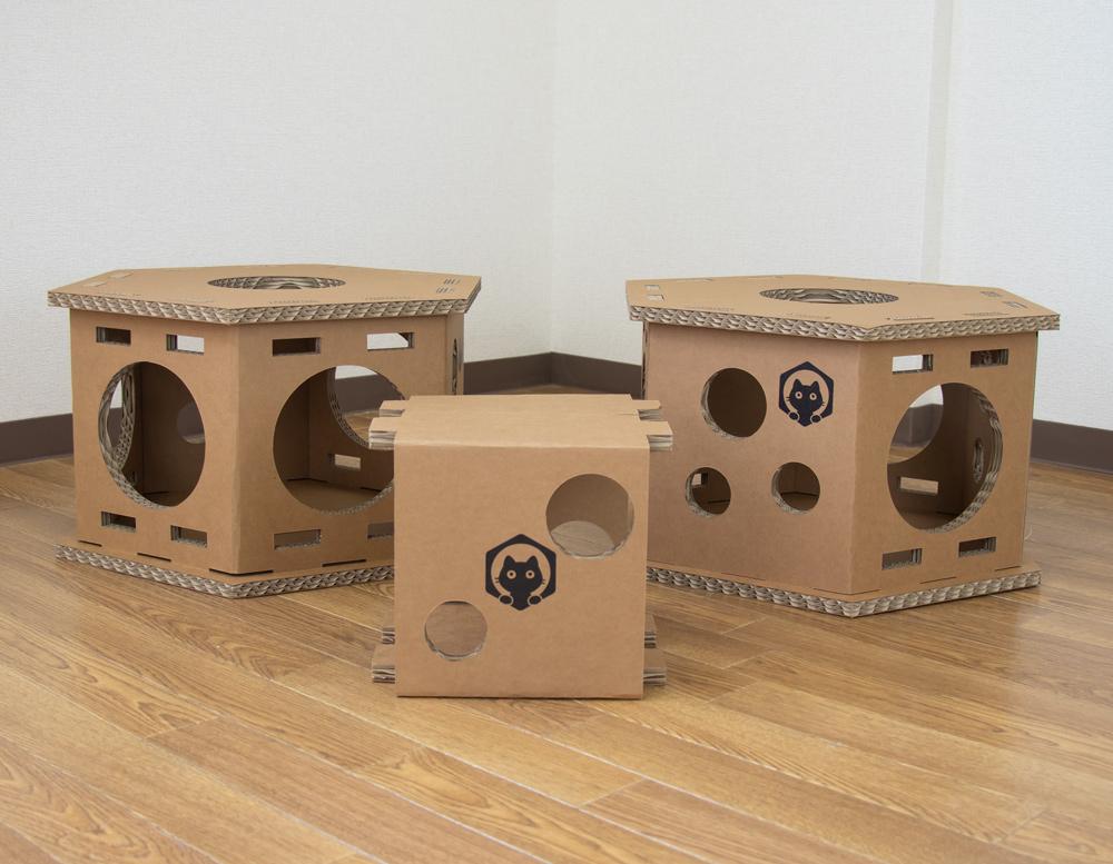 ネコベース NEKO BASE NEKOBASE 強化段ボールで出来た猫の遊び場 キャットハウス キャットタワー キャットトンネル ネコベース1段×2台セット