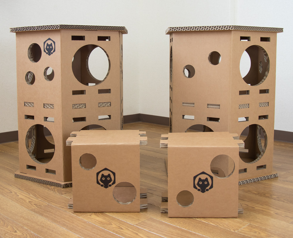 ネコベース NEKO BASE NEKOBASE 強化段ボールで出来た猫の遊び場 キャットハウス キャットタワー 2段×2台セット
