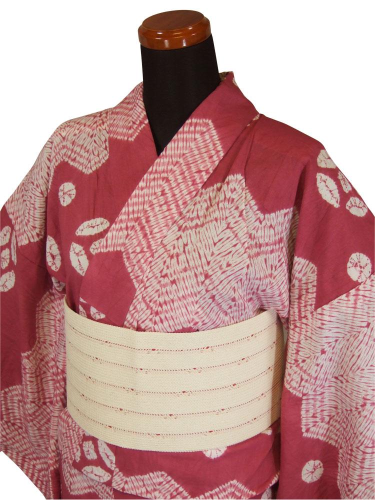 【有松鳴海絞り】仕立て上り絞り浴衣「ピンク地に花」【10P06Aug16】