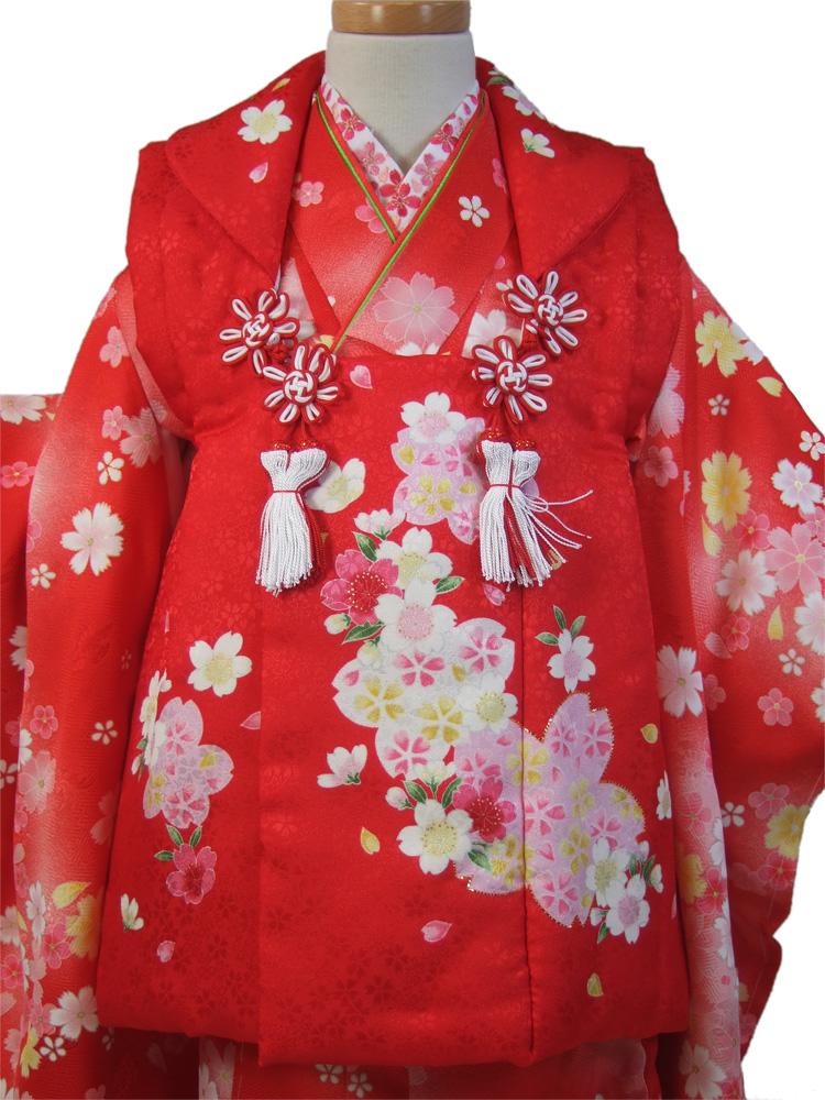 【七五三】三歳・被布コート(単品)「赤地に桜」【smtb-k】【w3】【10P05Nov16】