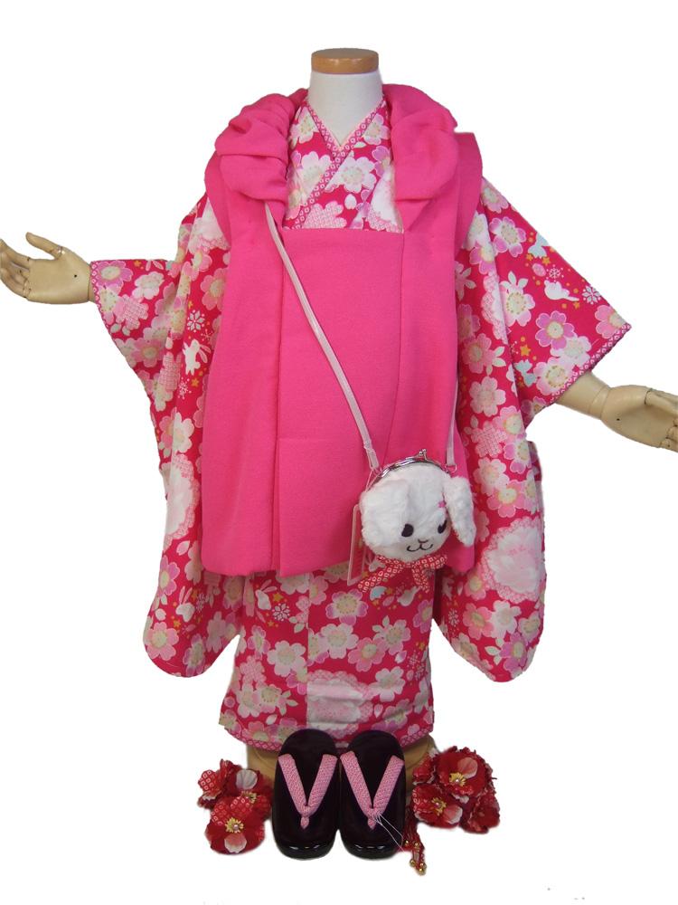 【JAPAN STYLE】3歳三ッ身被布セット「赤地に桜とうさぎとリボン」【10P05Nov16】