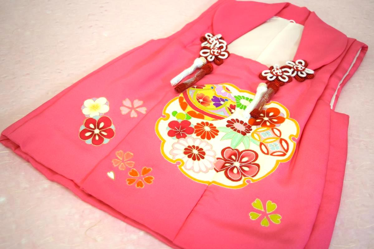 【日本製】【七五三】三歳・被布コート(単品)「正絹・手描き・ローズ(雪輪の中にまりと花)」【10P05Nov16】