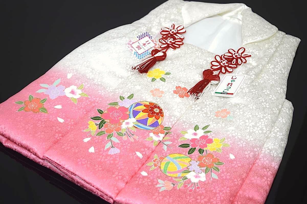 【日本製】【七五三】三歳・被布コート(単品)「正絹・手描き・絞り・ピンク(まりと桜)」