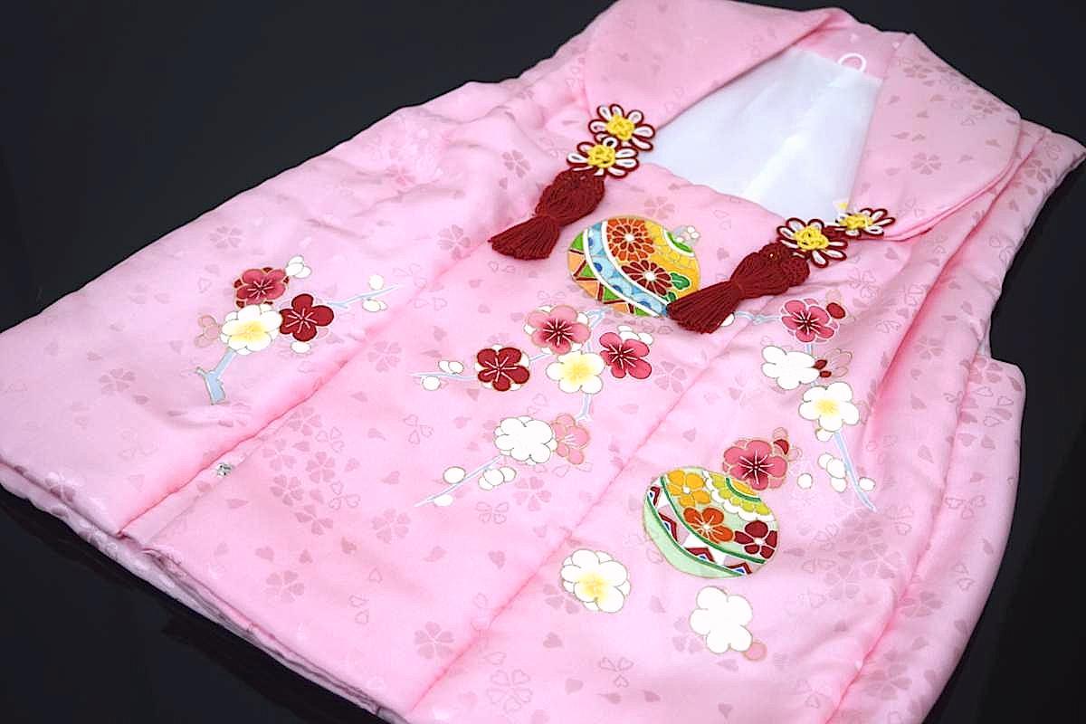 【日本製】【七五三】三歳・被布コート(単品)「正絹・手描き・ピンク(鈴と梅)」