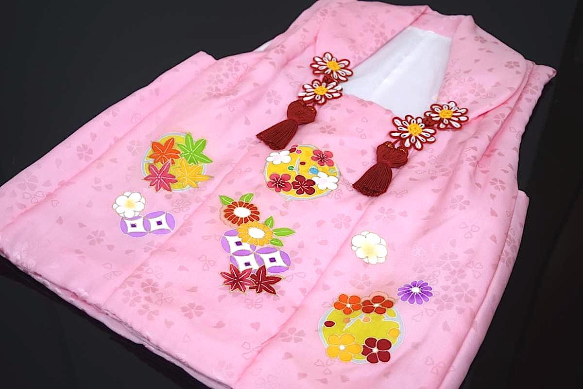 【日本製】【七五三】三歳・被布コート(単品)「正絹・手描き・ピンク(花輪)」
