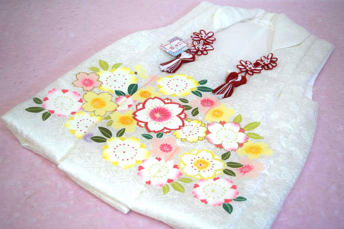 【日本製】【七五三】三歳・被布コート(単品)「正絹・手描き・白(桜)」