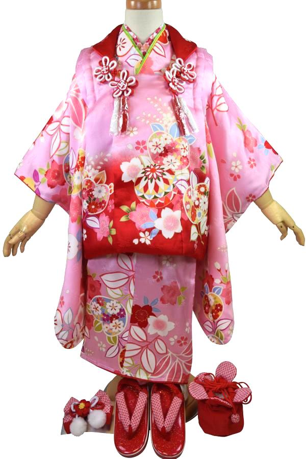 【七五三セット・女の子・3歳用】3歳三ッ身被布セット「葵(ピンク)」【10P05Nov16】