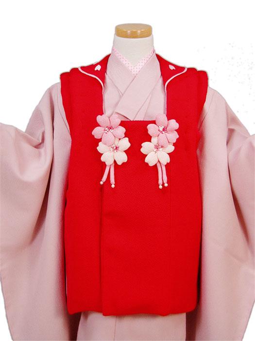 【七五三】正絹被布コート(単品)「ちりめん桜(赤)」【10P05Nov16】
