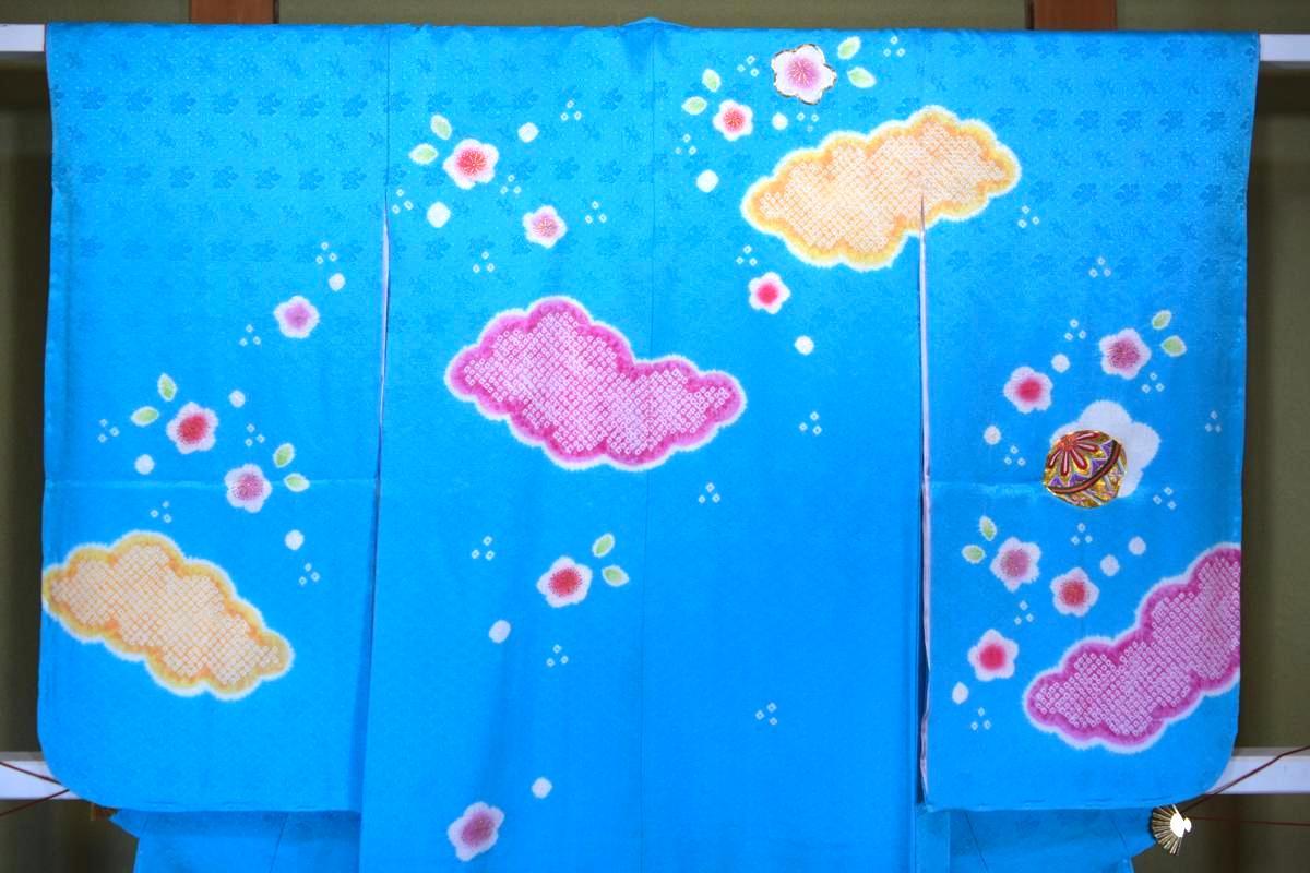 【日本製】【正絹】7歳四ッ身着物(単品)「刺繍まりと鈴と絞り雲(ターコイズ)」【10P05Nov16】