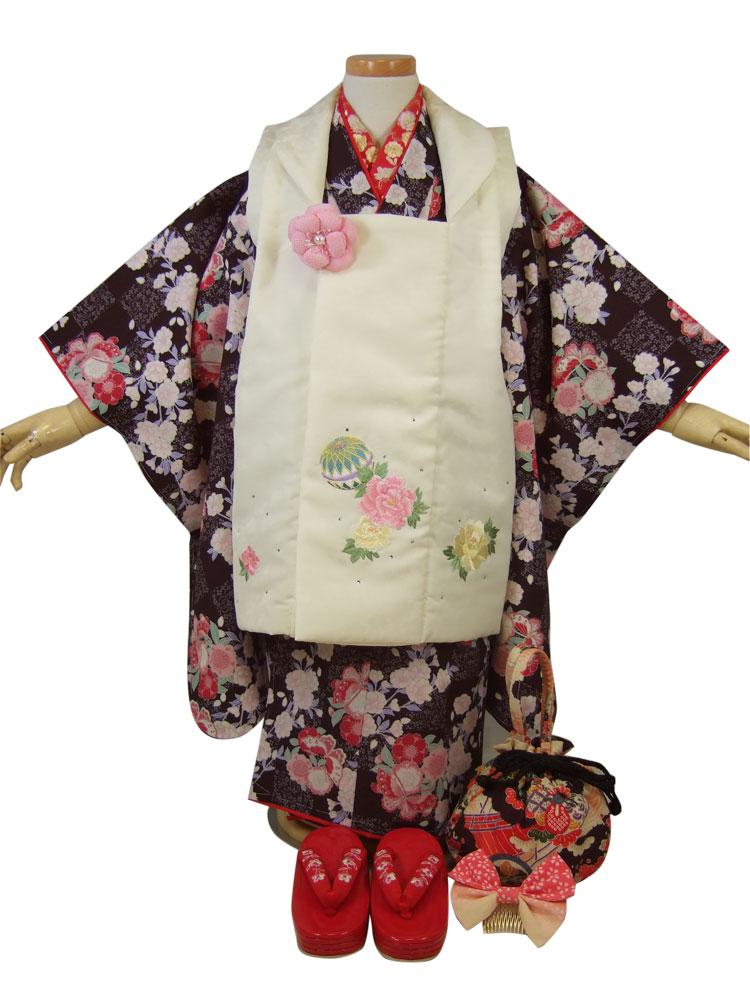 【夢工房2】3歳三ッ身着物被布セット「ラインストーン付き刺繍被布と桜と蝶の着物(黒)」【10P05Nov16】