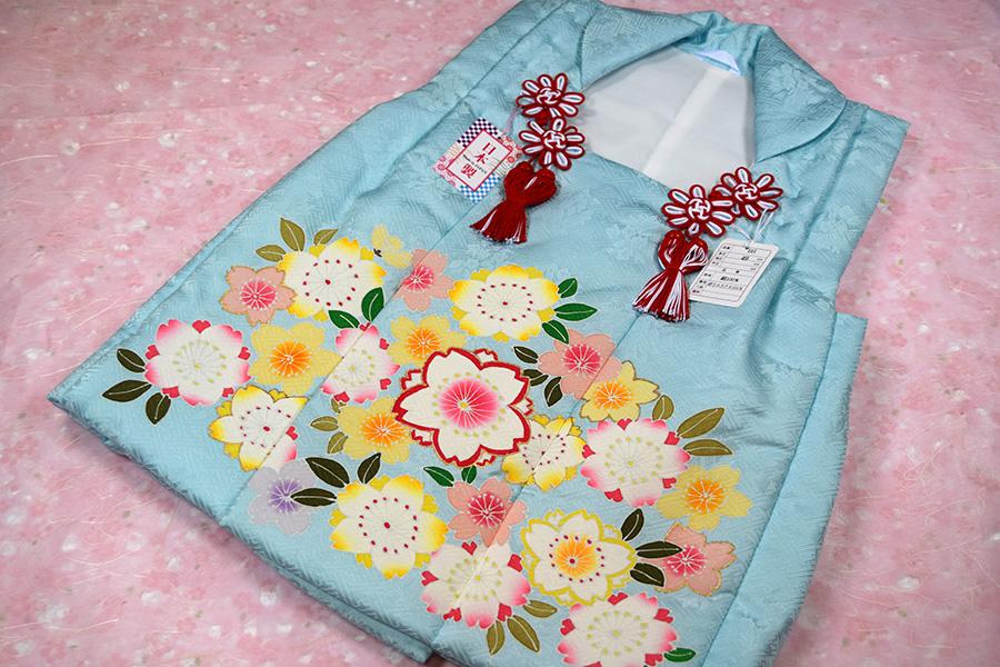 【日本製】【七五三】三歳・被布コート(単品)「正絹・手描き・水色(桜)」【10P05Nov16】