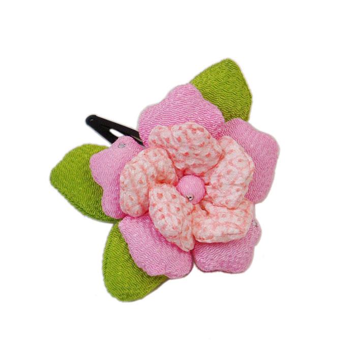 ファッション通販 メール便なら送料100円 ぷっくりとしてとっても可愛いです 七五三 小紋 振袖 メーカー公式ショップ 浴衣 ちりめん髪飾り 絞りの花びらパッチン 袴 ピンク