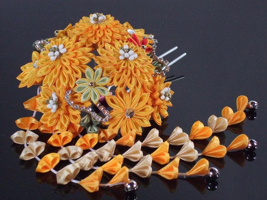 【振袖・袴・成人式・卒業式】髪飾り「ラインストーン付き・つまみかんざし(オレンジイエロー)」