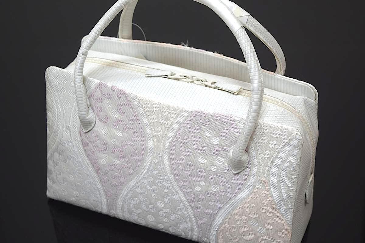 【夏用】【日本製】正絹・帯地使用利休バッグ「波立涌 1」