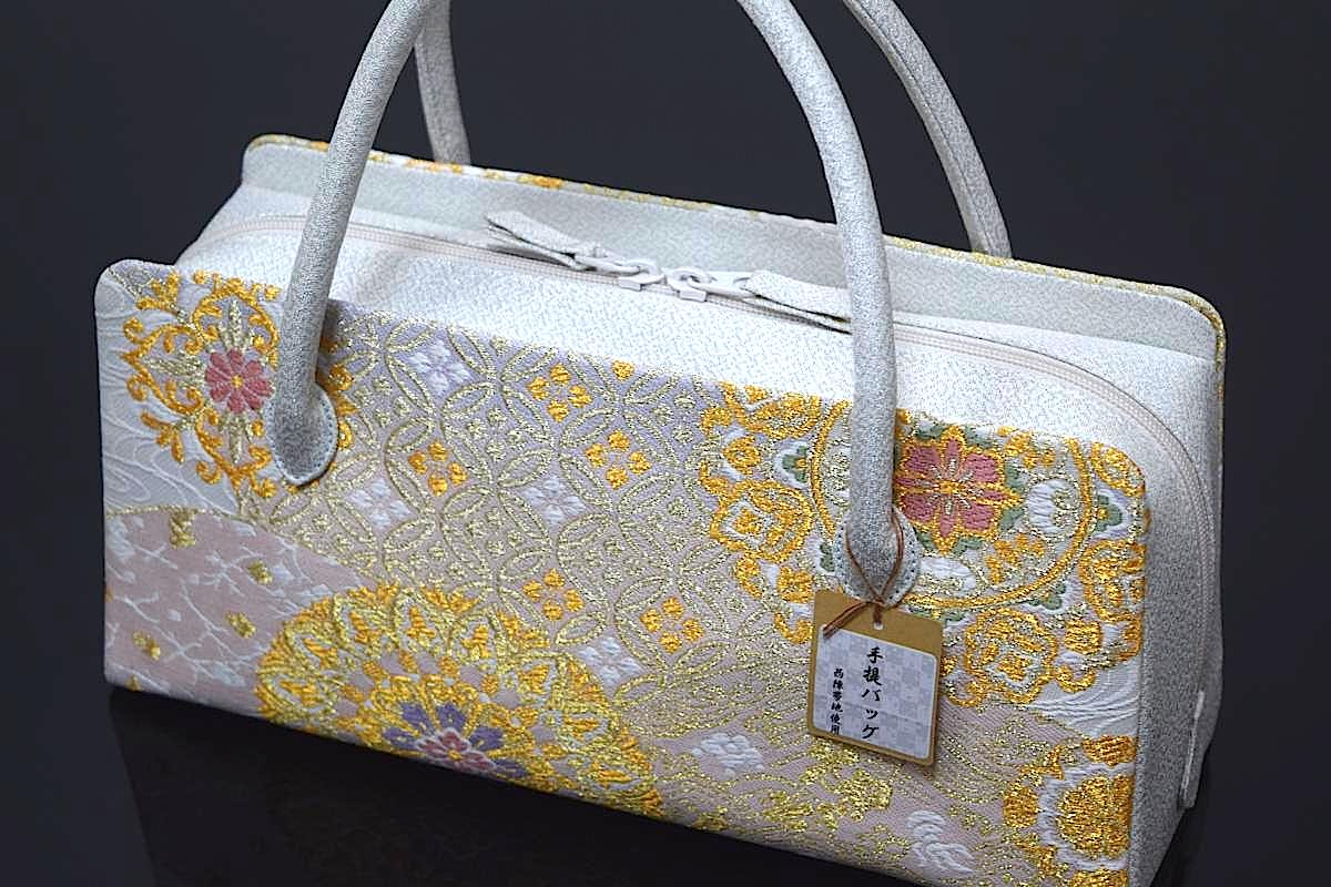 【日本製】【西陣織帯地使用】【正絹】「高級利休バッグ(七宝流水亀甲華紋)」