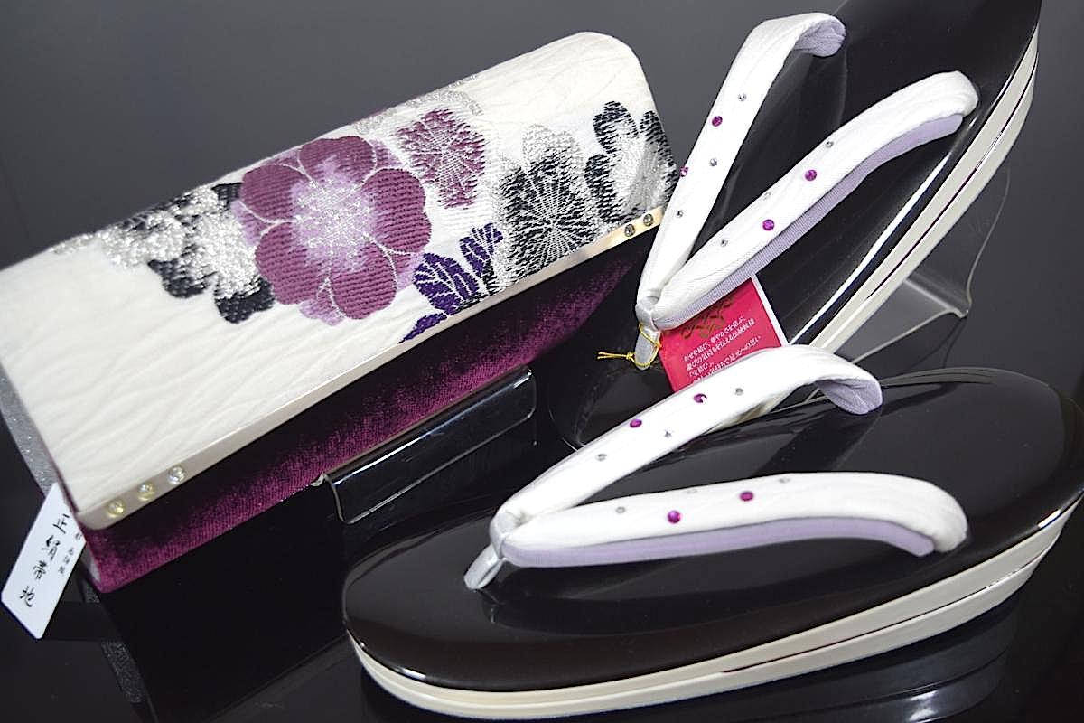【振袖用】【大阪・岩佐高級草履】【2WAYバッグ!】【大阪ぞうり協同組合 認定】【Lサイズ】【日本製】「正絹西陣織帯地とベルベットの草履バッグセット(白)」