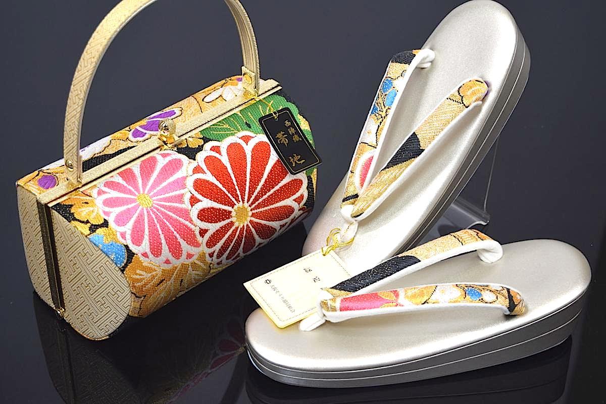 【大阪ぞうり協同組合 認定】【Fサイズ】【日本製】西陣織帯地使用振袖用草履バッグセット「菊と桜」