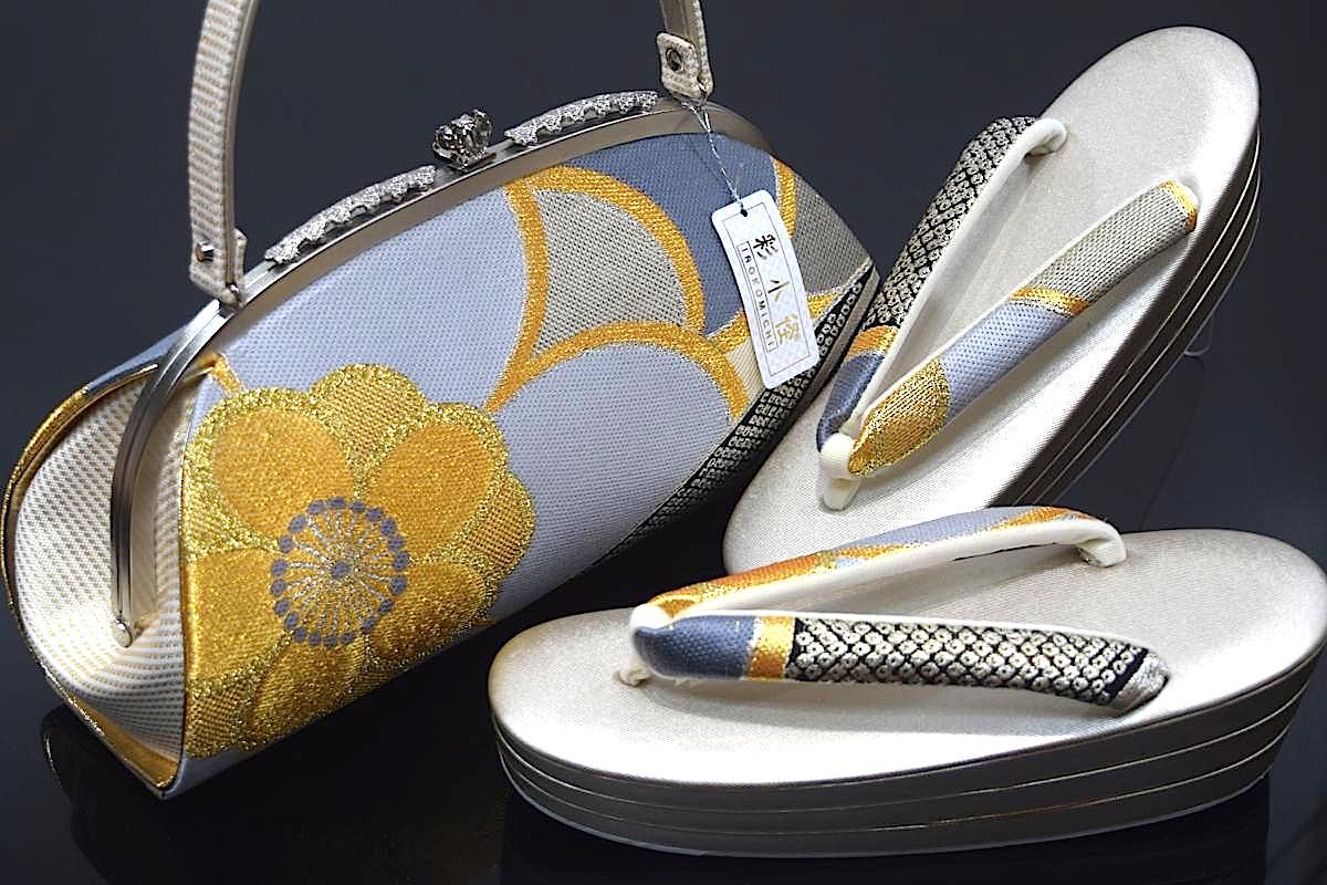 【振袖用】【彩小径ブランド】【日本製】【Fサイズ】【振袖用草履バッグセット】「桜と鹿の子」