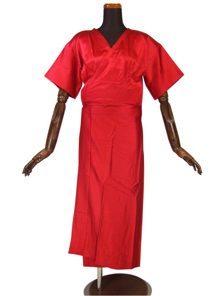 着物の下着もおしゃれに 綺麗な赤の肌襦袢 振袖にも 超特価SALE開催 大人気 送料無料 売りつくしセール きものスリップ 真紅のシルクスリップ 和装肌着 絹