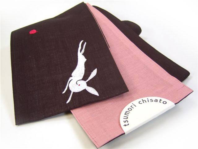 【tumori chisato・ツモリチサト】半幅帯「うさぎとリンゴ(黒)」麻半巾帯