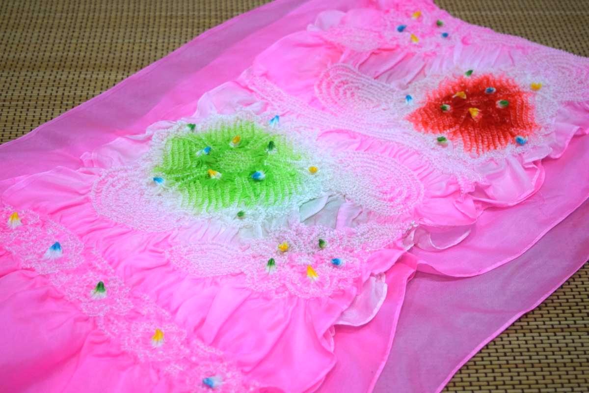 【正絹】高級子供兵児帯(3m25cm)「ピンクに緑と赤の絞り」
