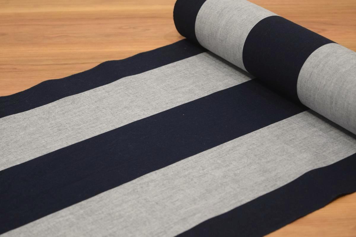 【伊勢木綿】【反物】【臼井織布】「縞(紺×グレー)」