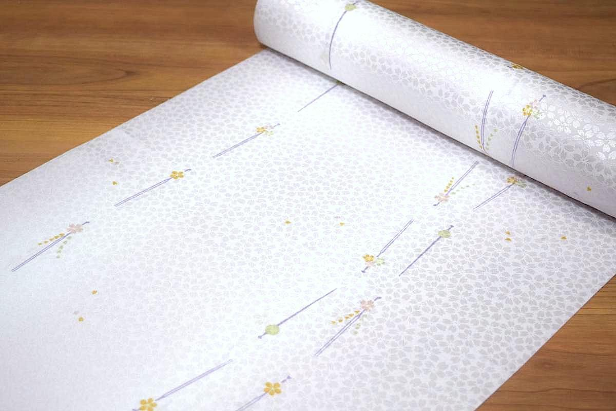 【反物】【紙人形】「洗える長襦袢(桜の地模様にかんざし柄)」