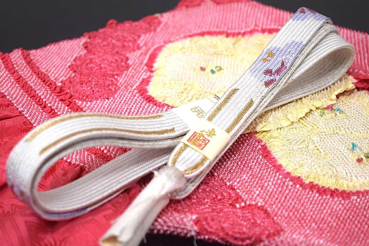 【振袖用】【手組み】【三分金】【広幅 平組】正絹帯締め「桜SAKURA(白×薄紫)」